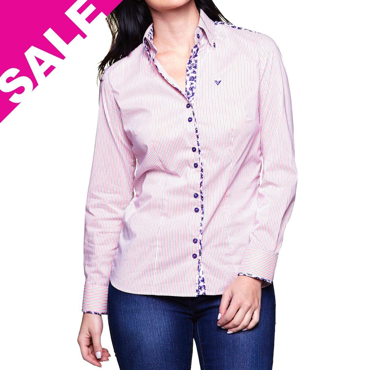f775d5a780 camisa feminina blusa listrada rosa e branca manga longa. Carregando zoom.