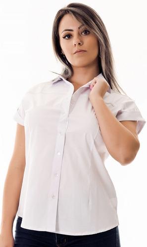 camisa feminina branca manga curta laura - pimenta rosada