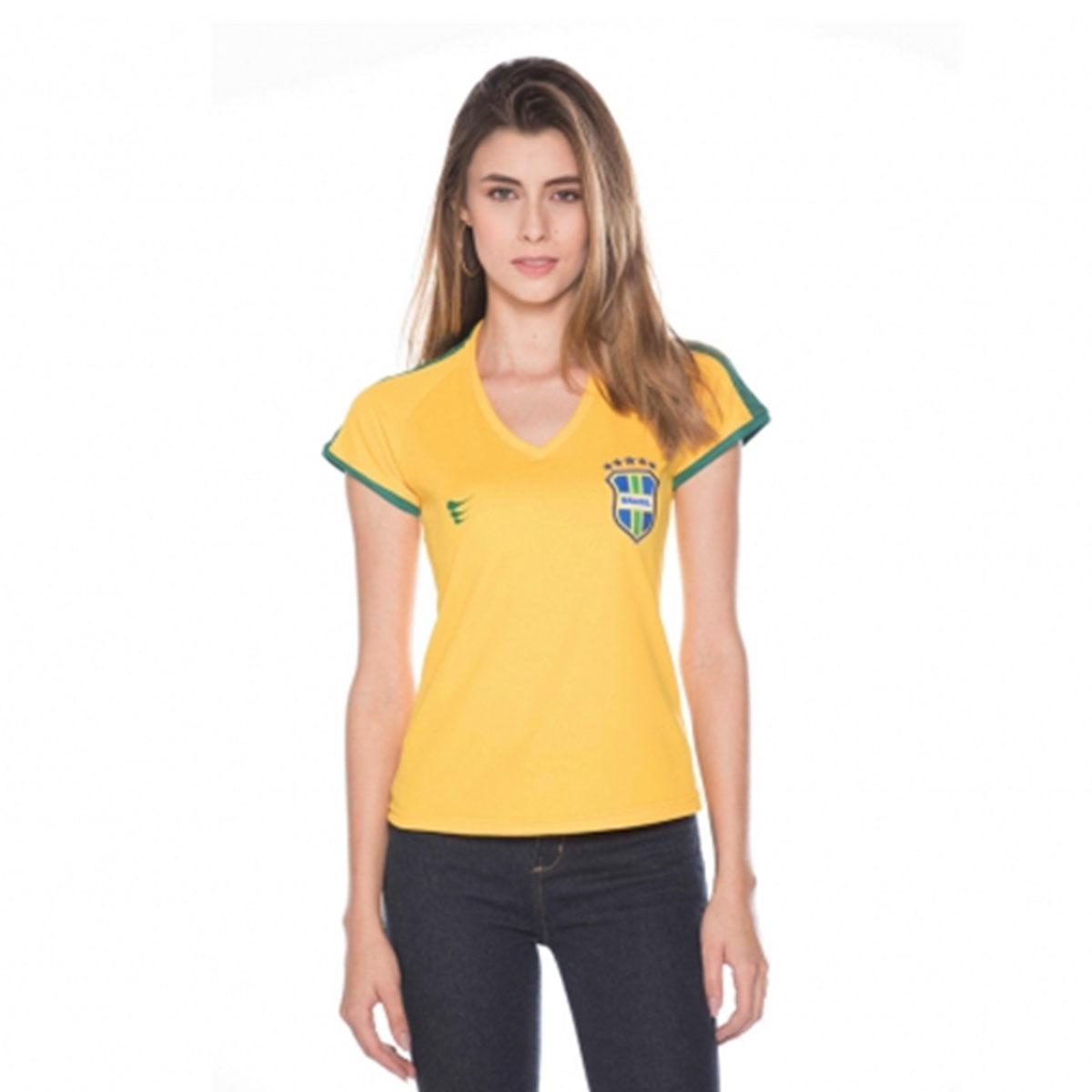 f28fdf9fe8 Camisa Feminina Brasil Pro 2018 S nº - Super Bolla - Amarela - R  34 ...