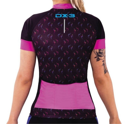 camisa feminina ciclismo bike mtb dx3 montop preto rosa