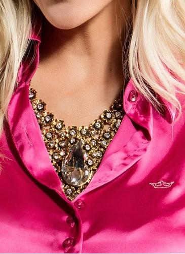 camisa feminina de cetim rosa principessa rafaele