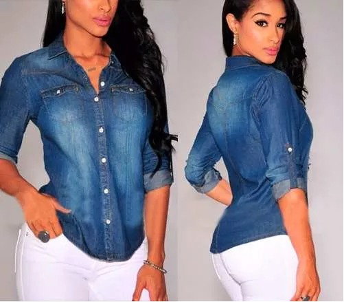 fb9741bb8c Camisa Feminina Jeans Importada Ms Fashion - R  75