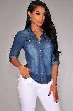 a49f60c65 Camisa Feminina Jeans Kit Com 5 Voce Escolher O Tamanho - R$ 258,89 ...