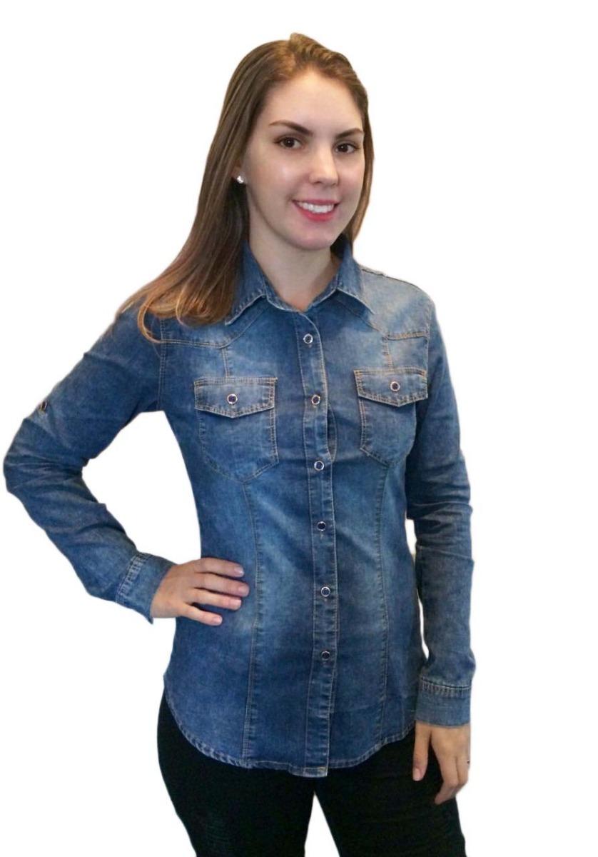 f37305b16 camisa feminina jeans manga longa com lycra. Carregando zoom.