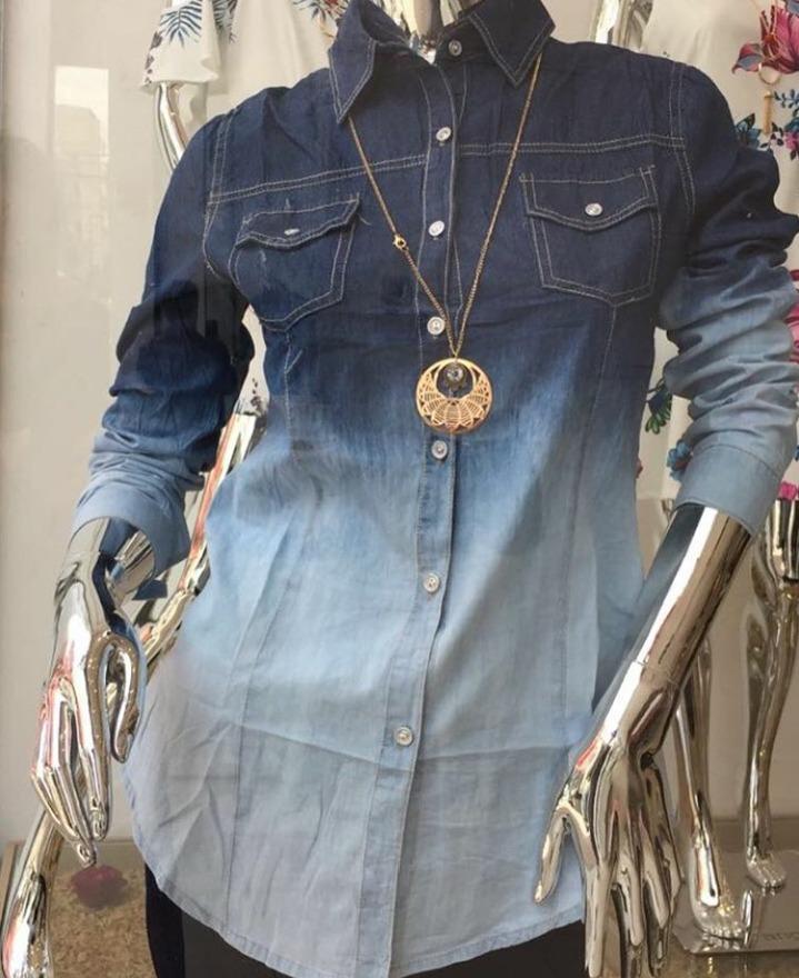 19f810041e camisa feminina jeans manga manga promoção p m g gg. Carregando zoom.