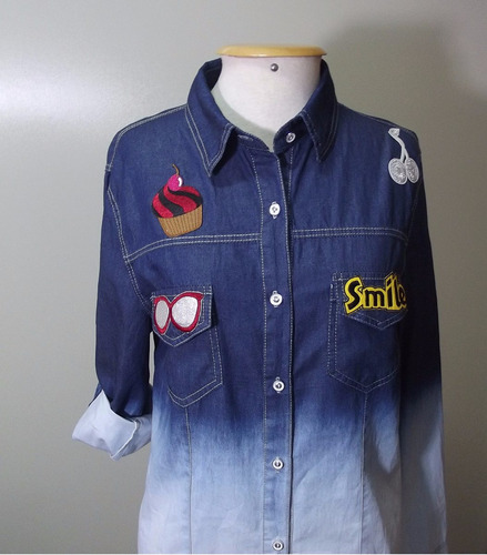 camisa feminina jeans patch degrade dobra manga 2 cores