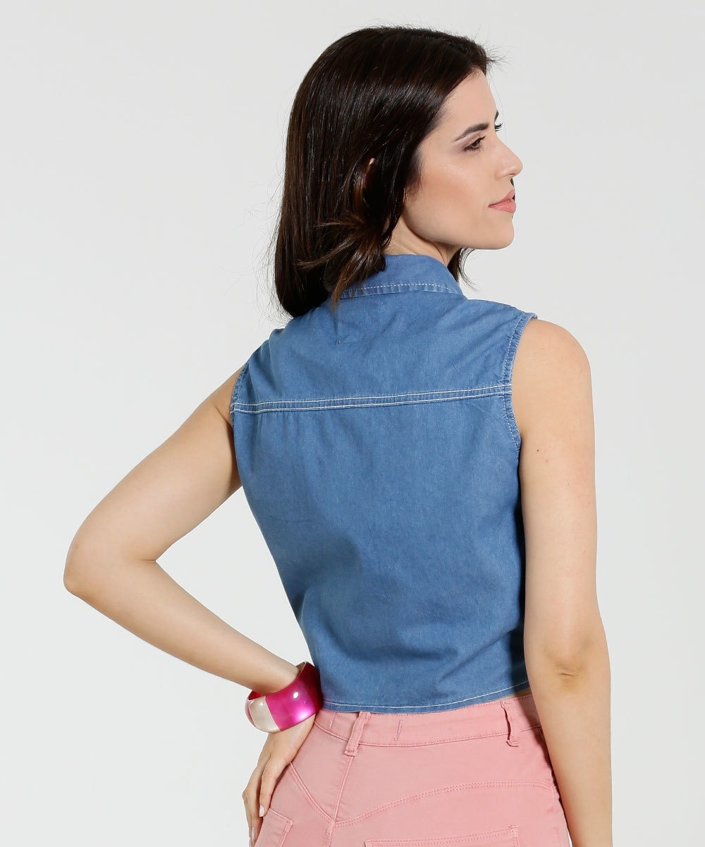 a27240eebb camisa feminina jeans renda tiras. Carregando zoom.