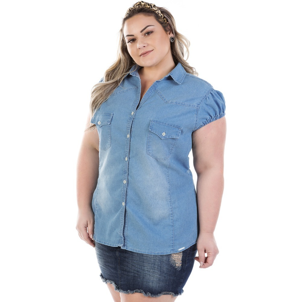 ecdd08cda2 camisa feminina jeans vinil com elastano plus size bvm213. Carregando zoom.
