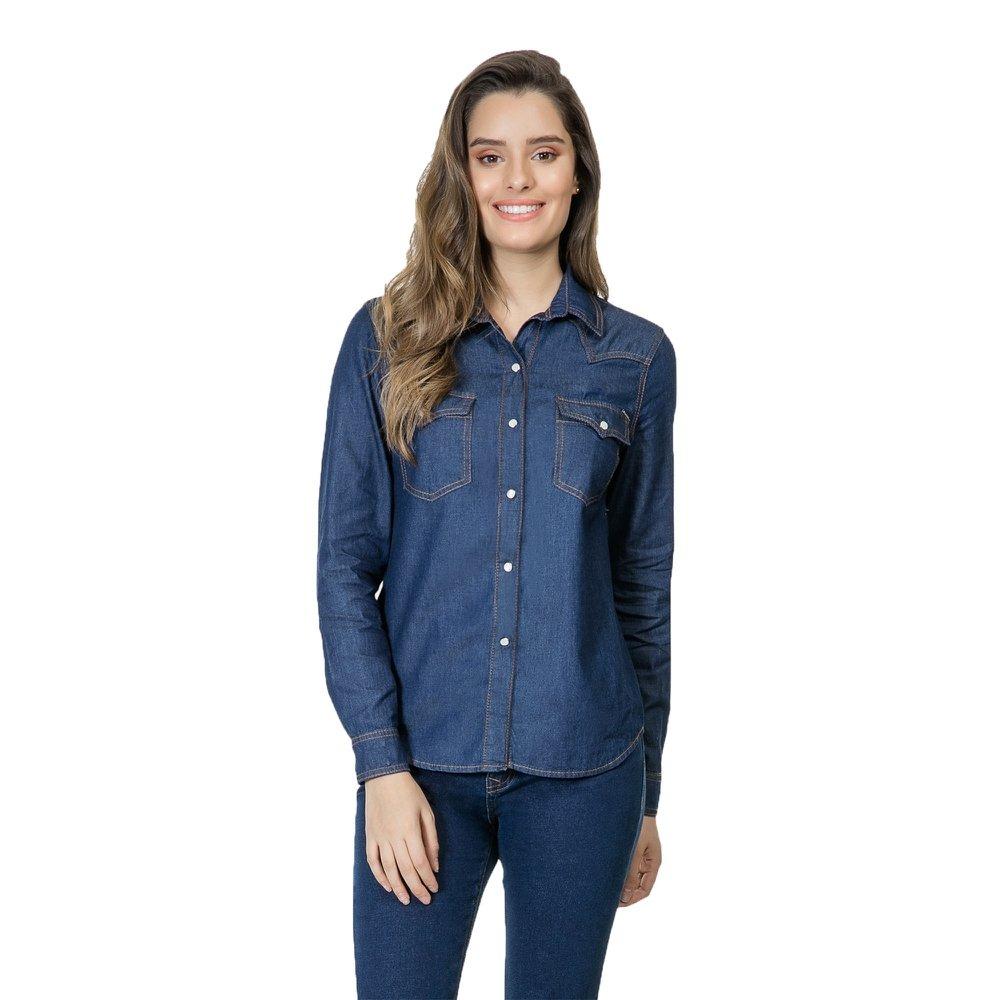 623e060a6 Camisa Feminina Lez A Lez Jeans Manga Longa Acinturada Je... - R ...