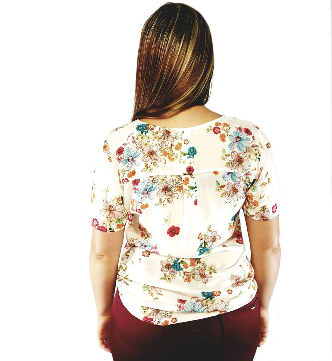13ba14b3c camisa feminina manga curta em viscose estampada floral seik. Carregando  zoom.