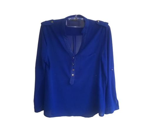 camisa feminina manga longa azul cobalto bic militar tam p