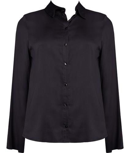 camisa feminina manga longa lisa em viscose seiki 120010