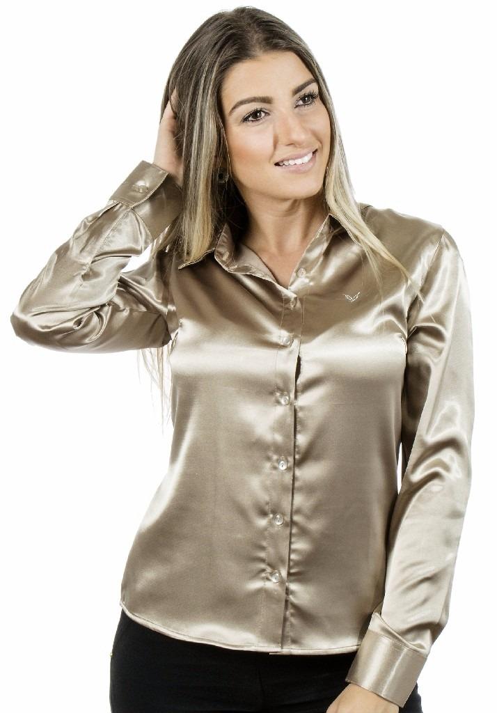c33f9ae875 camisa feminina maud le manga curta cetim c  elastano. Carregando zoom.