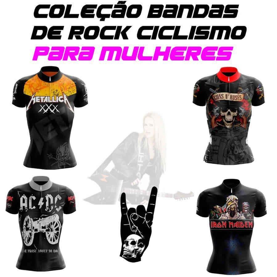 28cf4a509 Camisa Feminina Metallica Ciclismo Preta Mtb Speed Exclusivo - R ...