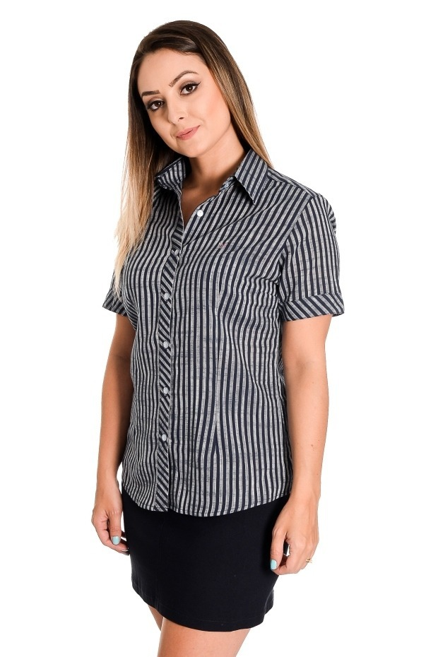 e334ecc0e4 camisa feminina nany manga curta listrada em algodão leve. Carregando zoom.
