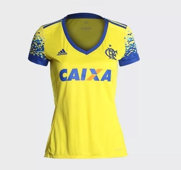 e410d46d9e Camisa Feminina Original Flamengo adidas Amarela 2017 2018 - R  175 ...