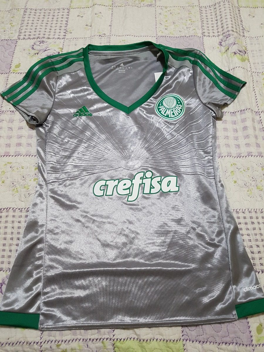 96e2c618ee Camisa Feminina Palmeiras 2016 Prata adidas Crefisa - R  129