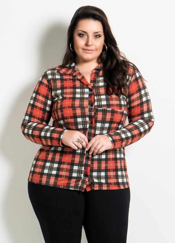 a3e3c8fc91 camisa feminina plus size xadrez vermelha extra grande. Carregando zoom.