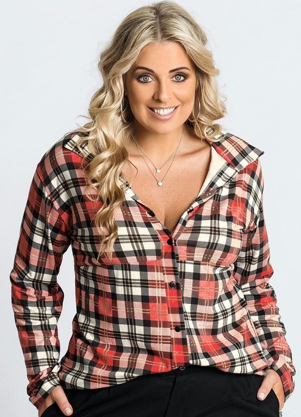 e0ec8ce94e camisa feminina plus size xadrez vermelha inverno 2017 promo. Carregando  zoom.