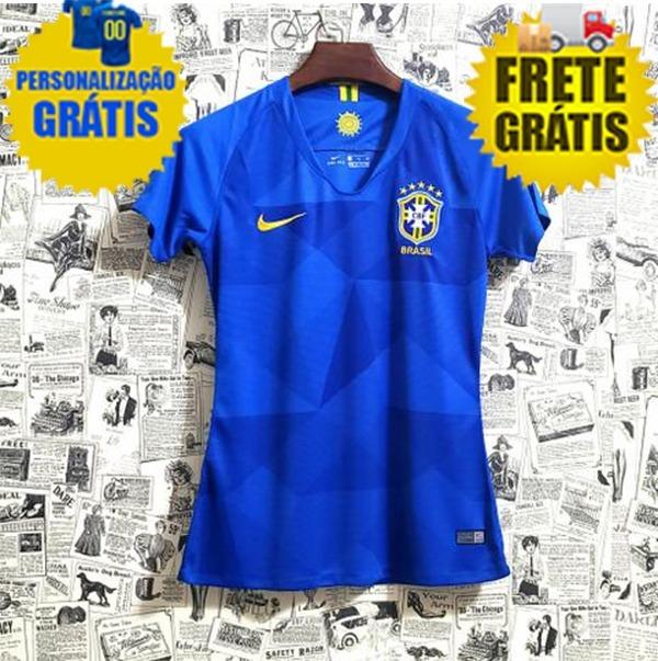f7863e9c7 Camisa Feminina Seleção Brasil Copa 2018 Personalize Grátis - R  189 ...