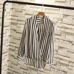 bbd7135be9 Camisa Social Feminina Listrada Preto Branco - Calçados