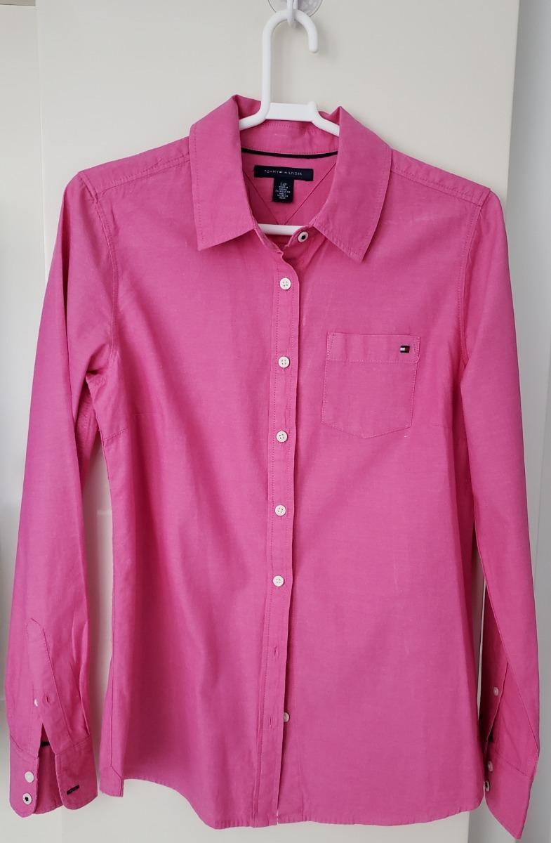 bbdf5e5fd camisa feminina tommy hilfiger rosa p usada original manga. Carregando zoom.