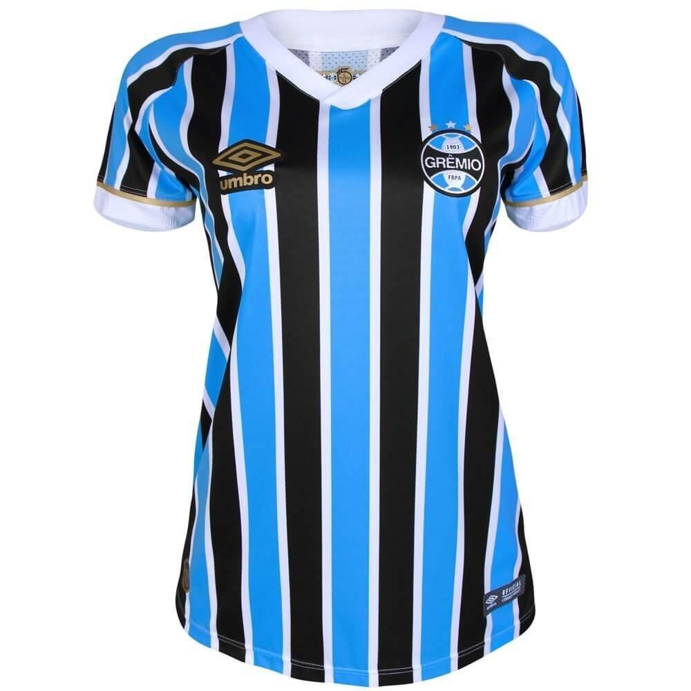 Camisa Feminina Umbro Grêmio Of. 1 2018 Tricolor - R  199 7ab13efd10ea5