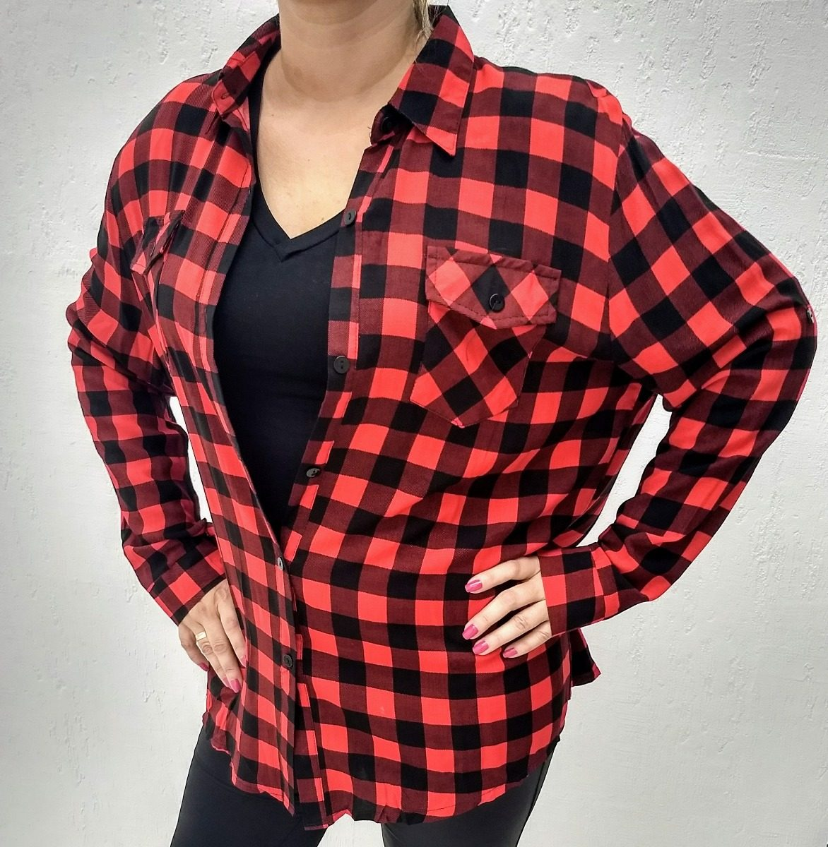 camisa feminina xadrez plus size g1 g2 g3 quadriculada. Carregando zoom. baea637a749
