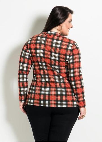 camisa feminina xadrez plus size manga longa inverno 2017