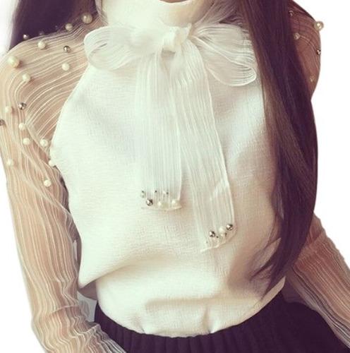 camisa feminino blusa social manga longa de luxo foto real