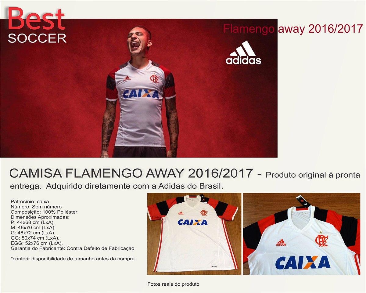 eaf6ac2674 Camisa Flamengo adidas Branca 2016 2017 Original - R  67