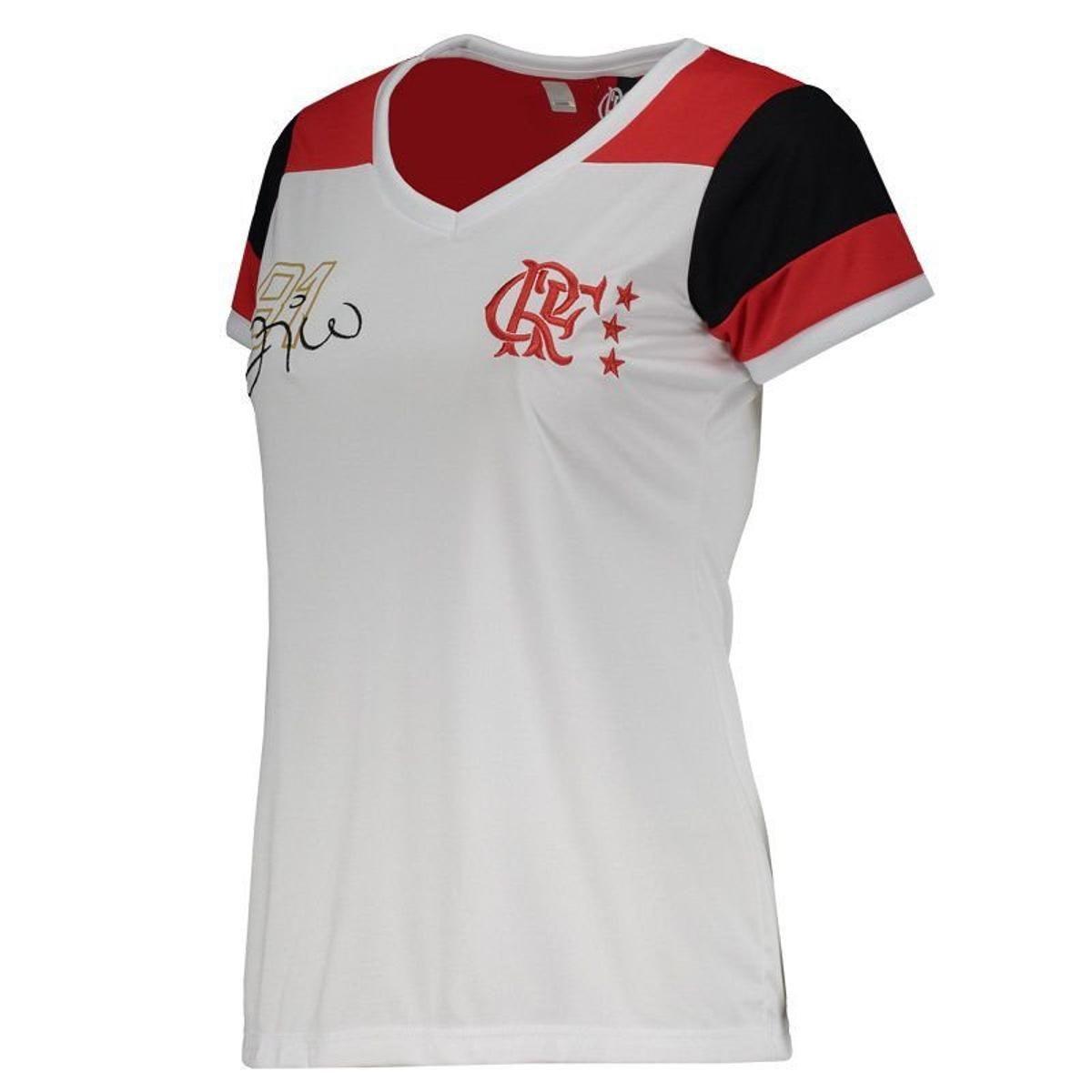 Camisa Braziline Flamengo Zico Retro Feminina - Branco - R  82 6ef3dcd14c095
