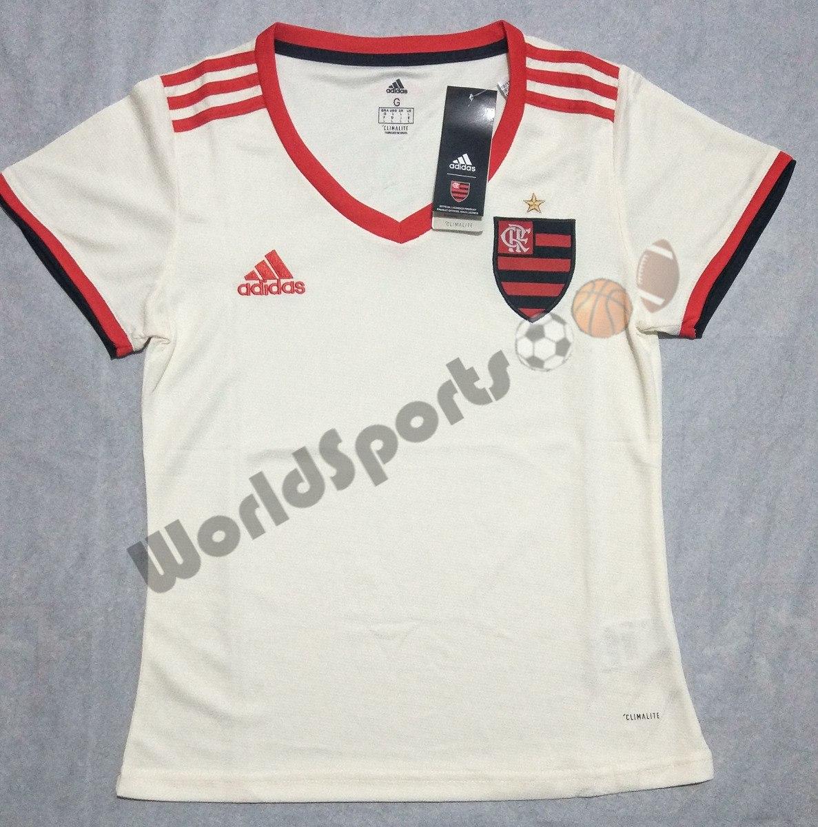 camisa flamengo feminina branca 18 19. Carregando zoom. abe38403cd478