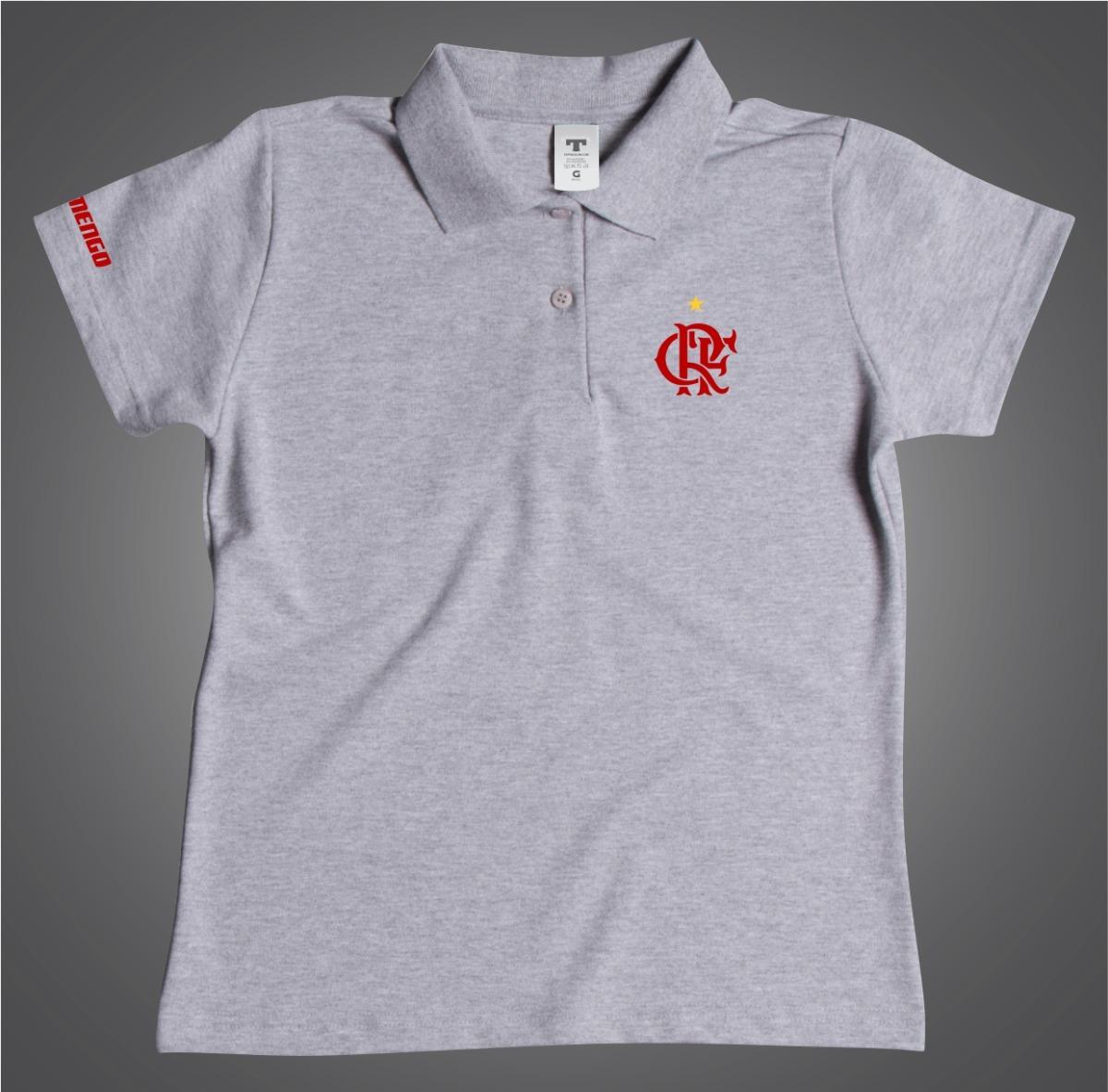 0451fec052 Camisa Flamengo Polo Feminina Branca Baby Look - R  54