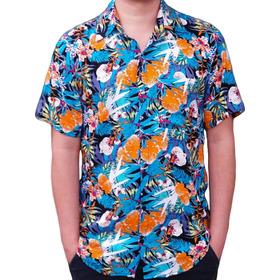 Camisa Floral Estampa Florida Havaiana Azul Camiseta Pronta