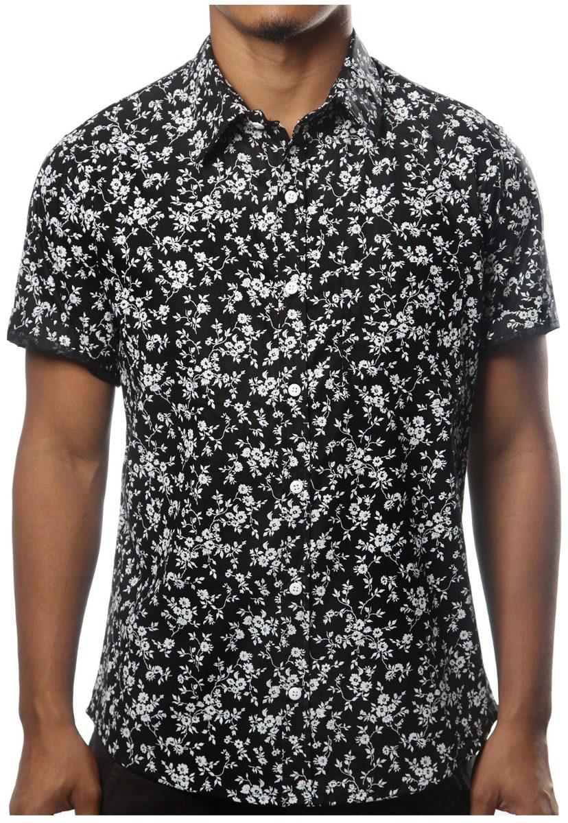 73ba478491 camisa floral masculina estampada florida casual preta. Carregando zoom.