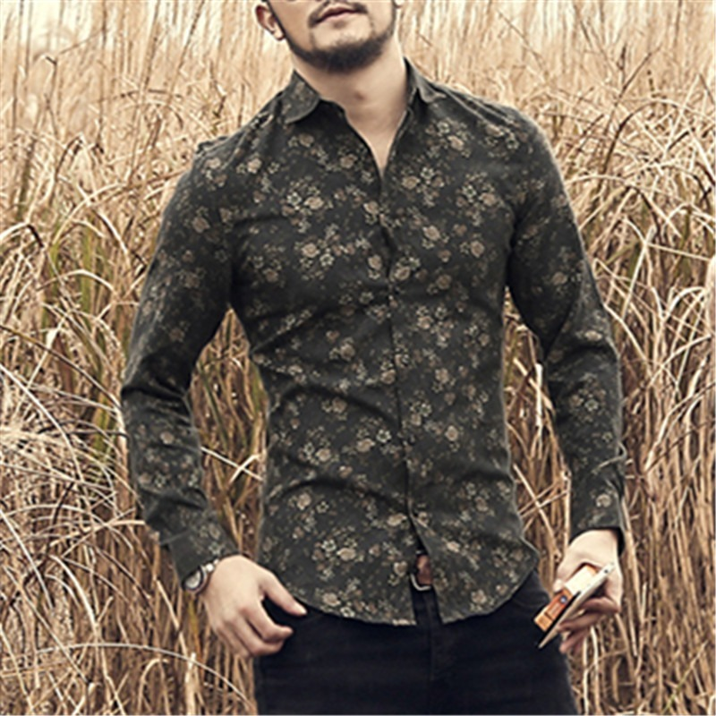 5f5991db3d490 camisa floral masculina - social casual manga longa vintage. Carregando  zoom.
