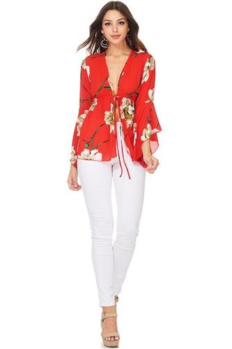 camisa fluida lazo en cintura floral
