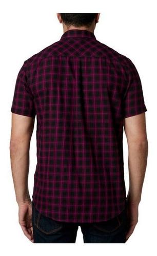 camisa fox ekins ss purpura casual para caballero