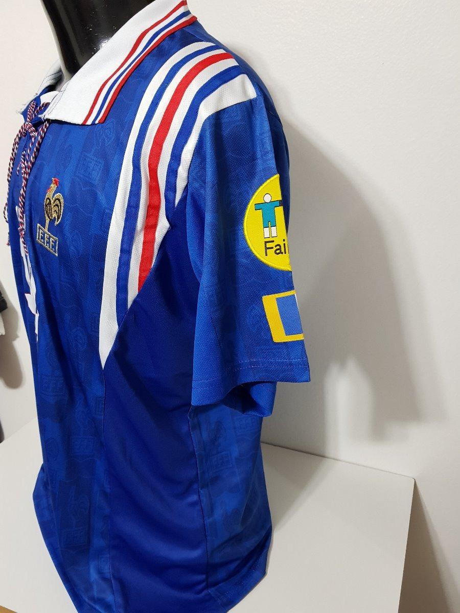 f5a295b60f0dc Camisa França Home 96-97 Zidane 10 Patch Euro 1996 Importada - R ...