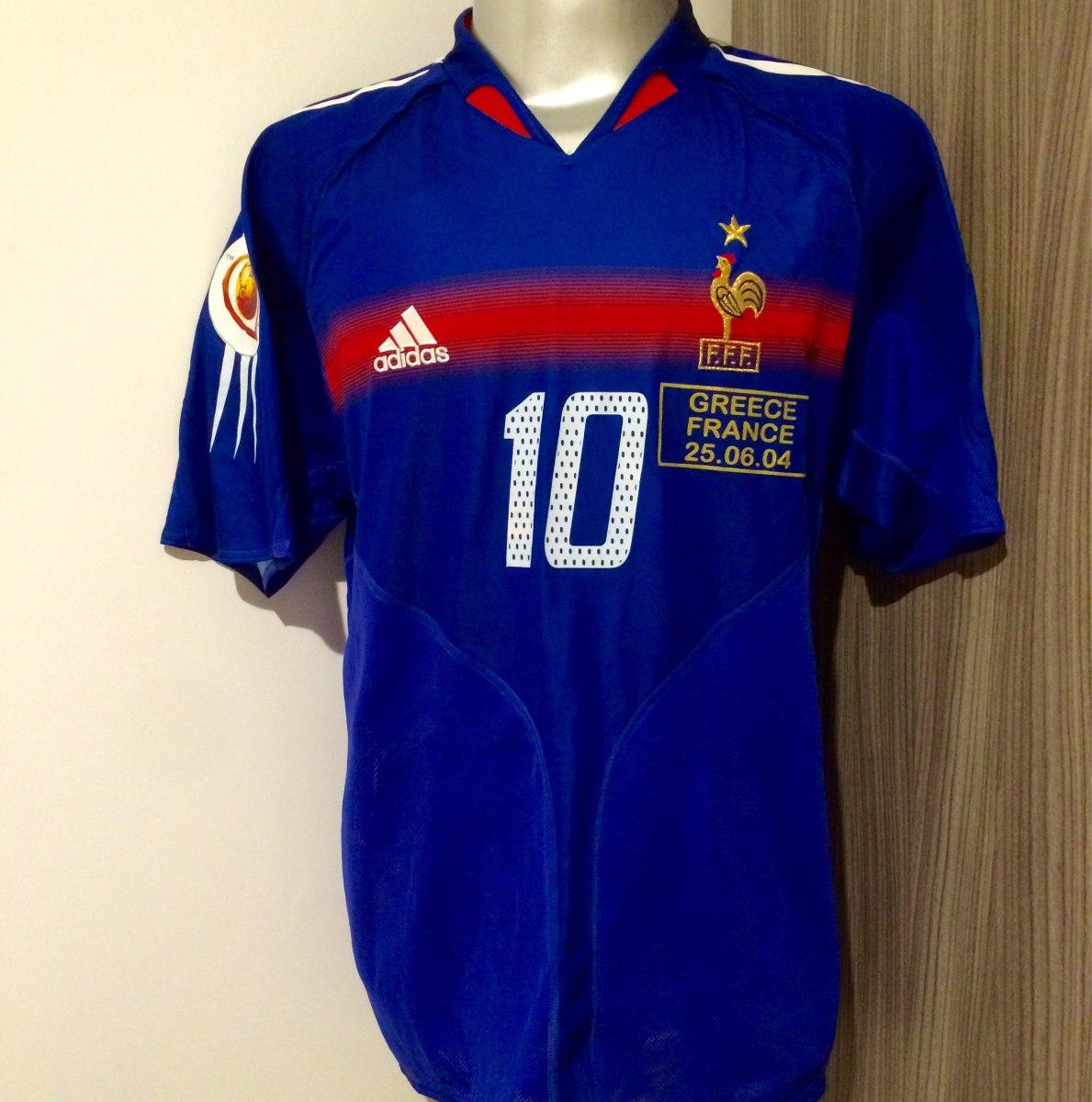 734d0cbdd4887 Camisa França Home Fifa Euro 2004 (10 zidane) - R  400