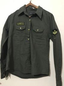 super popular 087f8 ed53c Camisa Gabardina Verde Militar Mujer Con Apliques