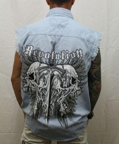 camisa garage skull jeans tam. xl made in usa