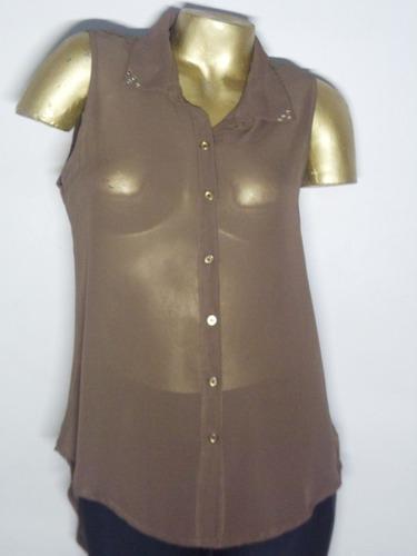 camisa gasa  blusa remera mujer s/manga
