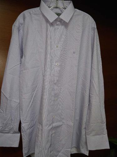 camisa givenchy cuadros lila manga larga talla 17 100%algodó