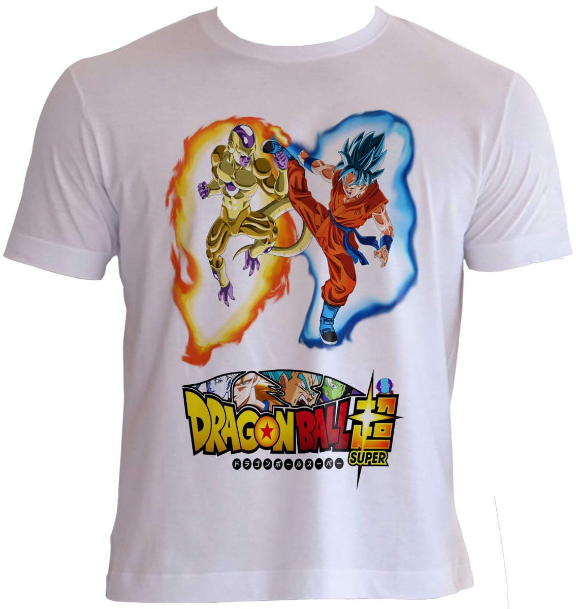 camisa goku deus vs freeza dourado animes dragon ball super. Carregando  zoom. 942bac09bb5