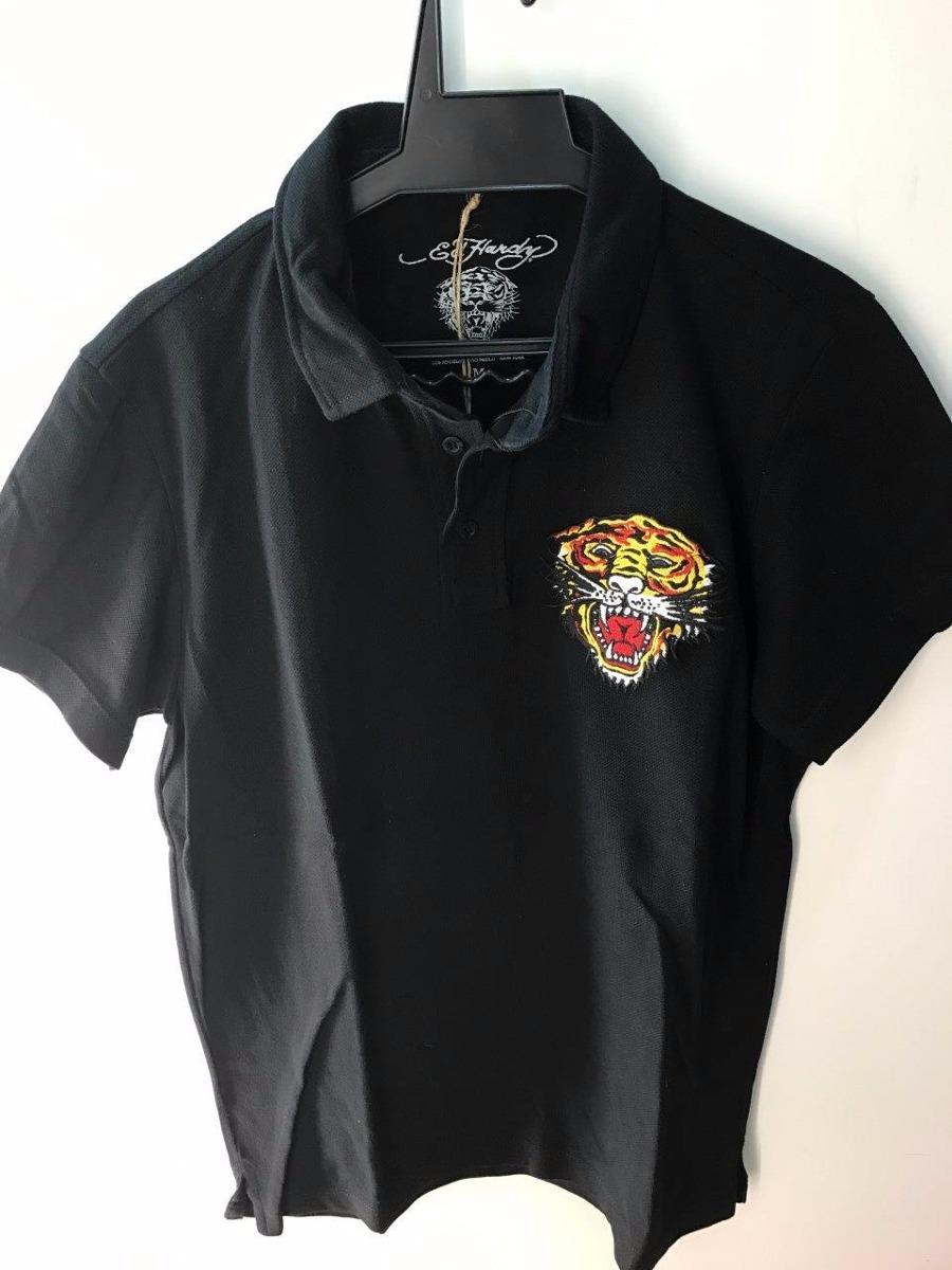 camisa gola polo ed hardy black masculina christian audigier. Carregando  zoom. 346d8c22e8550