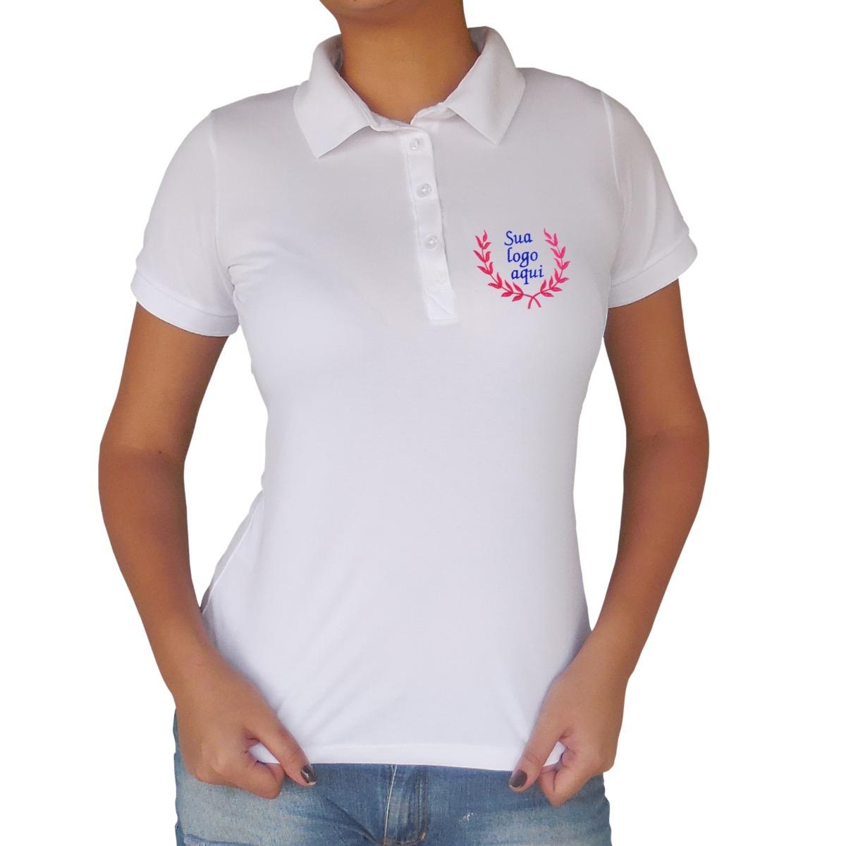 9cc6cb4b21243 camisa gola polo feminina piquet com bordado personalizado. Carregando zoom.