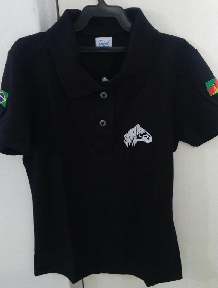 76c97797b4 camisa gola pólo feminina preta. cavalo crioulo. Carregando zoom.
