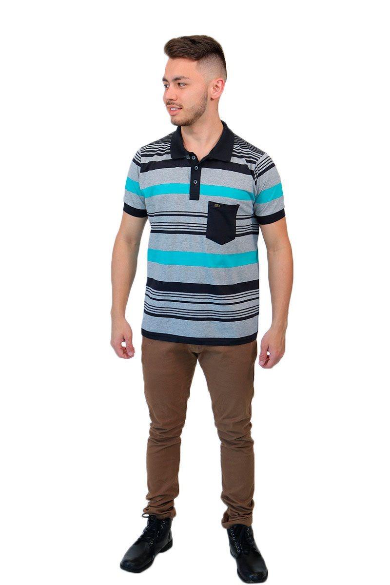 camisa gola polo listrada cinza mescla baiki badhai. Carregando zoom. d5be49384b0e9